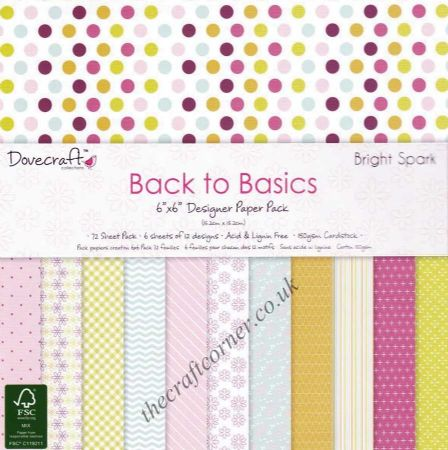 Bright Spark Back To Basics Designer Paper Pack by Dovecraft Available In Various Sizes